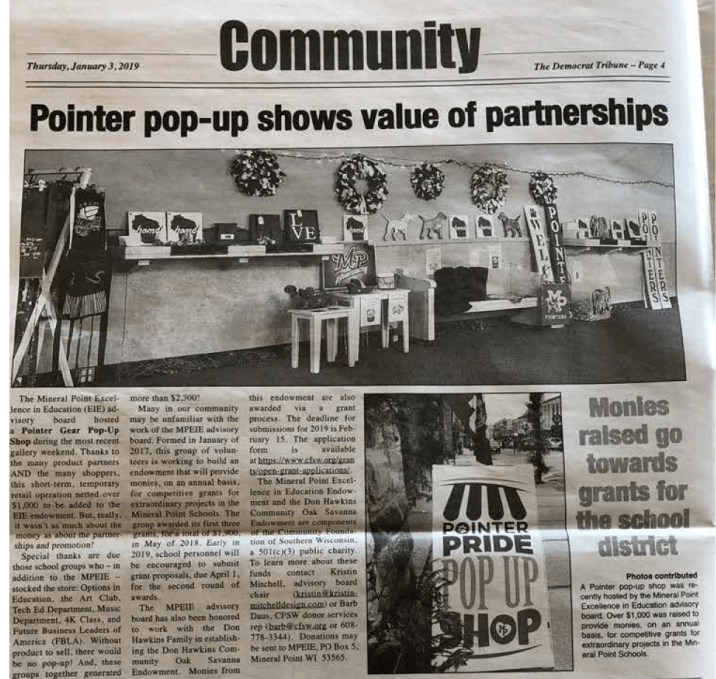 Pointer Pop-Up - Mineral Point Democrat Tribune